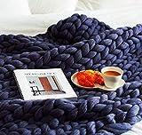 ASY Manta de punto gruesa hecha a mano gigante suave gruesa super manta manta manta de punto manta para decoración de dormitorio, cama, sofá, mascota alfombra de yoga, azul, 152 x 152 cm