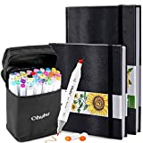 "Ohuhu 40 Colors Alcohol Art Markers (Fine & Chisel, Bonus 1 Colorless Blender) + 8.3"" ×11.7"" & 8.3"" x 8.3""Marker Pads Art Sketchbook, 120LB/200GSM Heavy Smooth Drawing Papers, 78 Sheets/156 Pages"