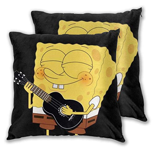 MISS-YAN Spongebob Plays Gitarre Decor Throw Kissenbezug Kissenbezug Soft Dekorative Kissenbezüge für Bett/Stuhl/Couch, 2 Stück