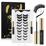 10 Magnets'1mm' Magnetic Eyelashes with Eyeliner Kit, 10 Pairs Magnetic Lashes Pack Reusable False Eyelashes and 2 Magnetic Eyeliner Natural Looking with Eyelash Applicator Tool- No Glue Needed
