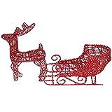 NUOBESTY Figuras navideñas con diseño de reno y trineo de Santas con purpurina roja