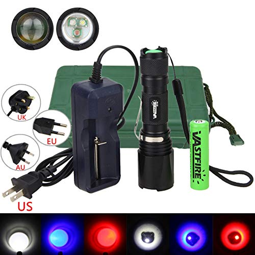 xd-96h Multicolor Taschenlampe, verstellbarer Fokus, 3-color-in-1 (blau, rot, weiß LED) Night Jagd...