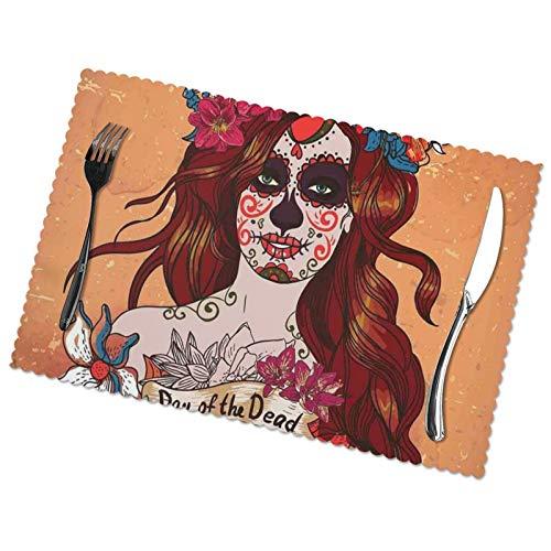 LAOLUCKY Manteles individuales para mesa de comedor Día de los Muertos Dia de los Muertos de tela de PVC con espesor, juego de 6 manteles individuales para mesa de comedor de 45,7 x 30,5 cm