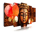 DekoArte 407 - Cuadros Modernos Impresión de Imagen Artística Digitalizada | Lienzo Decorativo para Tu Salón o Dormitorio | Estilo Cara Buda Zen Tonos Bronces Relajación | 5 Piezas 150 x 80 cm