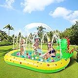 YASITY Sprinkler Pool for Kids, 3 in 1 Dinosaur Inflatable Sprinkler Swimming Pool for Toddler Indoor & Outdoor, Large Size Sprinkler Splash Pad Summer Water Toys for Backyard, Party, Garden, Beach