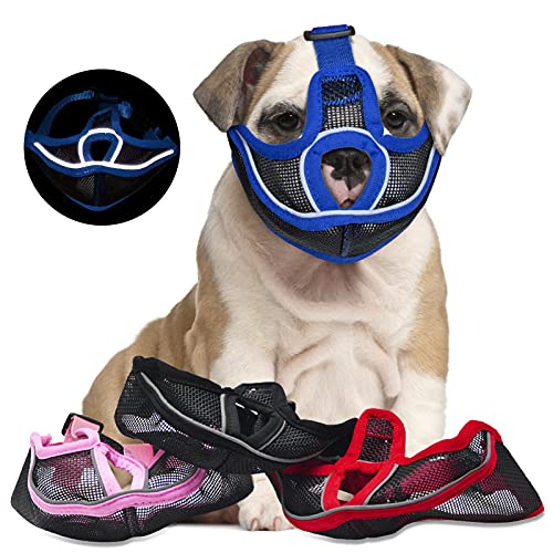 Short Snout Dog Muzzle, Poonpand [Upgraded] Adjustable Breathable Mesh Bulldog Muzzle with Reflective Strip, Chewing Barking Biting Training for Bull Dogs,Pugs,Shar-Pei,Chihuahua Dogs (X-Large,Blue)