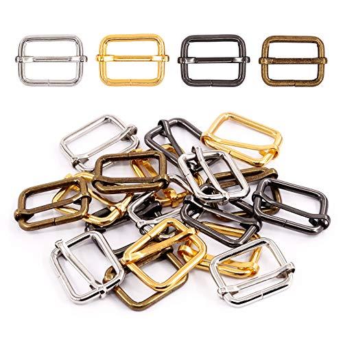 Swpeet 60Pcs Heavy Duty 1 Inch / 25mm Metal Rectangle Adjuster Triglides Slides Buckle, Webbing Belts Buckle Metal Rings for for Belt Bags DIY Accessories Keychains - Sliver, Bronze, Gold, Gun-Black