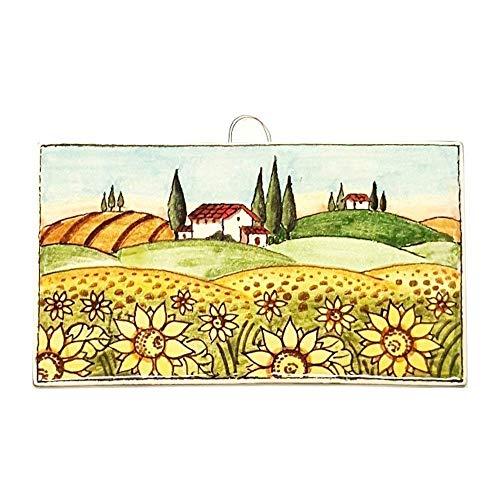 CERAMICHE D'ARTE PARRINI- künstlerische italienische Keramik,Fliesen,Dekoration Landschaft sonnemblumen, handgemalt, hergestellt in Italien Toscana