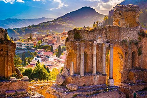 Sicily, Italy - The Ruins of Taormina Theater at Sunset A-9008350 (9x12 Art Print, Wall Decor Travel Poster)