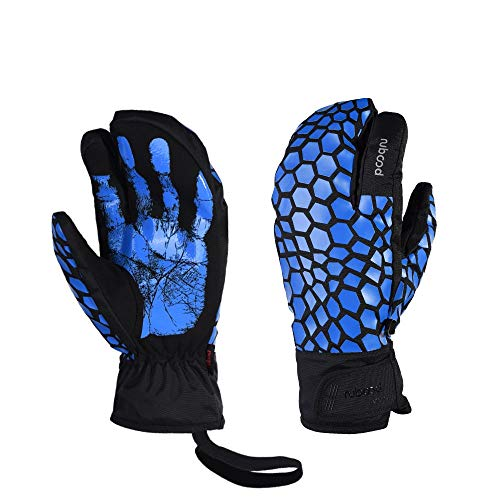 LANNIU Ski Gloves, Winter Glove Men Waterproof, 3-Finger Mittens Winter Warm Gloves with Touchscreen for Cold Winter Outdoor Sports (Blue, L)