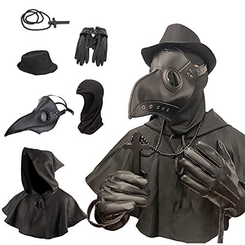 Plague Doctor Bird Leather Mask and Cloak Long...