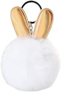 Sanwooden Cute Keychain Cute Rabbit Ear Shape Plush Ball Pendant Keychain Key Ring Holder Hanging Ornament Keychains