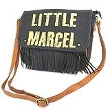 Little Marcel [P2639] - Kreativtasche 'Little Marcel' schwarzes Gold (fransen)- 31x24x6.5 cm.