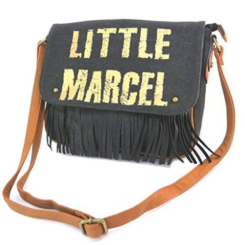 Little Marcel [P2639] - Sac créateur 'Little Marcel' Noir doré (Franges) - 31x24x6.5 cm