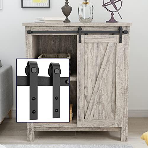 """SMARTSTANDARD 3FT Super Mini Cabinet Sliding Barn Door Hardware Kit -Smoothly and Quietly -for TV Stand, Closet, Window -Fit 18"""" Wide Door Panel -J Shape Hanger (NO Cabinet)"""