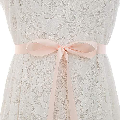 YLiansong-home Lace Chiffon Flower Girls Dress Belt Handmade Silver Rhinestone Bridal Belt Protein Rhinestone Wedding Gown Belt Formal Ball Gown (Color : Light pink, Size : 48cm x 5cm)