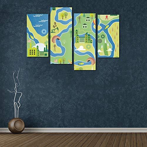 Zemivs 4 Stücke Dekorative Leinwand Wandkunst Stadtplan Einfache Klar 3D Kunst Wand-dekor Für Kinder Kein Rahmen Wohnzimmer Büro Hotel Wohnkultur Geschenk