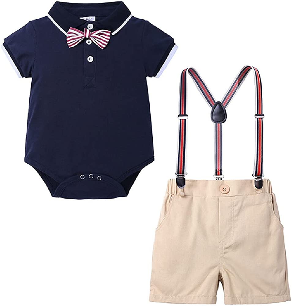 Quenny Boys' Suits,Children's Summer Short Sleeves Polo Shirts,one-Piece Conjoined Climbing Suits.