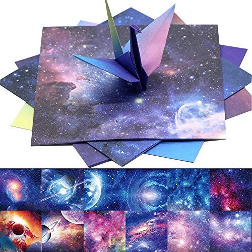 Origami Papier Farben Quadratisches Faltpapier 60 Stück 12 Farben Verschiedenen Einzigartigem Design Doppelseitig Konstellation Nachthimmel Origami Papier Sternschnuppen der Sterne(15x15cm)