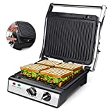 Electric Panini Press Indoor Grill with Removable 4 Slices Non-Stick Coated Plates, Drip Tray, Aigostar 1500 Watts Versatile Grills with Floating H