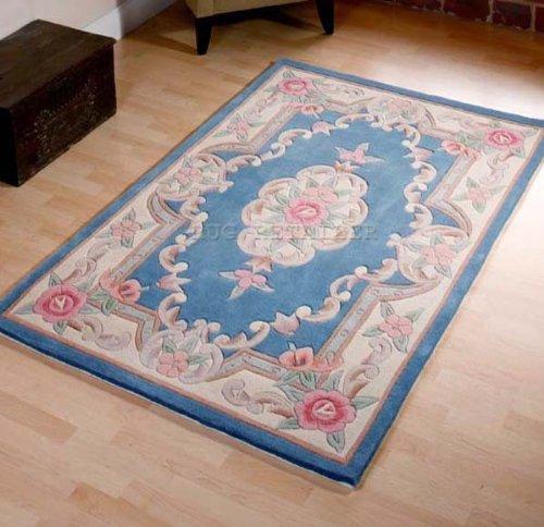 Alfombra hHechao a mano de lana Rugs chinao tradicional, diseño Aubusson en color azul Diseño, de 60 x 120 cm o 60,96 cm x4'