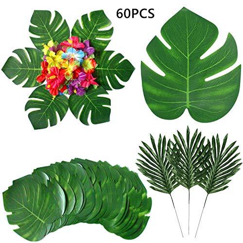 BigLion 60 Piezas Tropicales Artificiales Hojas Palmeras Flores de Hibisco, Hojas Artificial Palmeras Tropical Monstera Flores Hibisco Hawaianas Luau Jungle Beach temáticas Fiestas Decoraciones