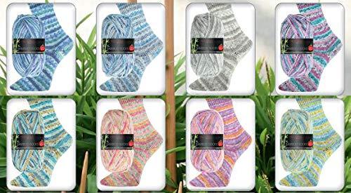 8x100g wool free Sockenwolle Paket Pro Lana Bamboo Socks, Bambus Sockenwolle ohne Wolle zum Stricken oder Häkeln