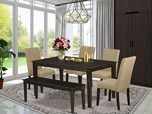 East-West Furniture Kitchen Dining Table Set 6 Pc - Brown Linen Fabric Kitchen Chairs - Cappuccino Finish 4 legs Solid Wood Rectangular Small Dining Table and Bench