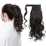 45cm - Coleta Extensiones de Clip de Pelo Natural Tie Up Ponytail Rizado Extension 90g Cabello Ondulado Humano Remy Human Hair - #1B Negro Natural
