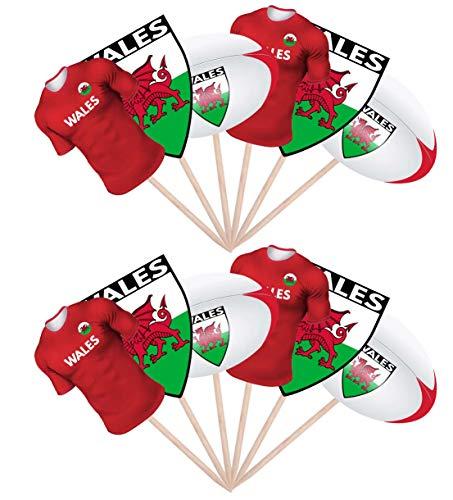 AK Giftshop Rugby Party Food Cupcake Picks Stäbchen Dekoration Aufsteller Stand Up Wales, 12 Stück