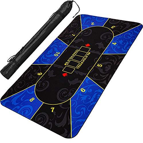 Maxstore XXL Pokermatte, bis zu 10 Spieler, Maße 200x90cm, blau-schwarz, inkl. Tragetasche, Unterseite Naturkautschuk, wasserabweisend