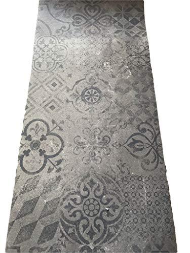 Tappeto cucina a metraggio PVC largo 50 cm marmette cementine azulejo (TORTORA SCURO)