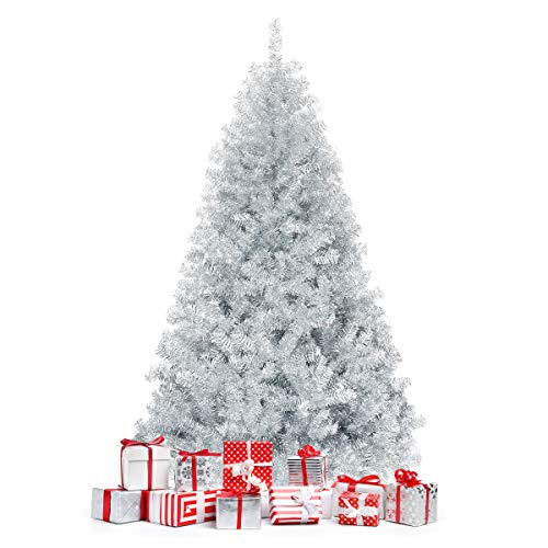 Happygrill 6FT Silver Christmas Tree Artificial Hinged Tinsel Xmas Tree with Metal Stand, 1036 Branch Tips, Holiday Decoration Tree for Indoor and Outdoor
