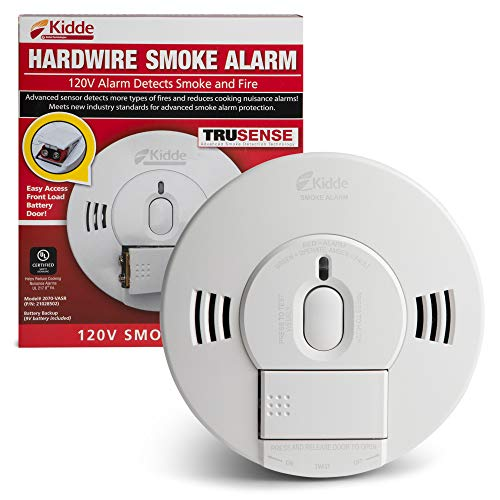 Kidde 21028502 AC/DC Wirein Smoke Alarm Detector with TruSense Technology | Front Load Battery Backup | Voice Notification | Model 2070VASR White