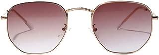 IPOTCH Man Women Classic Mirrored Square Metal Sunglasses Oversized Eyewear