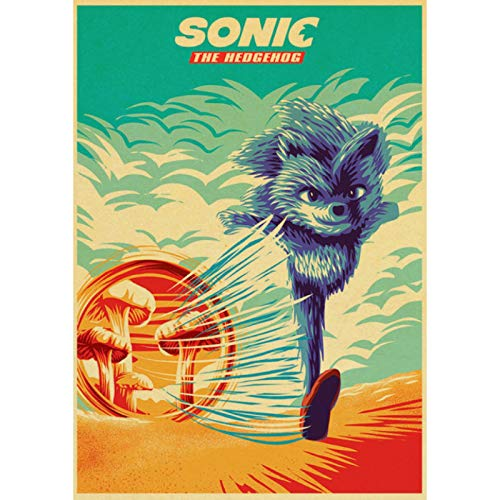 shuimanjinshan Movie Sonic the Hedgehog Retro Poster Prints Clear Image Room Bar Home Art Painting Wall Stickers 40x60cm No Frame HZ-1208
