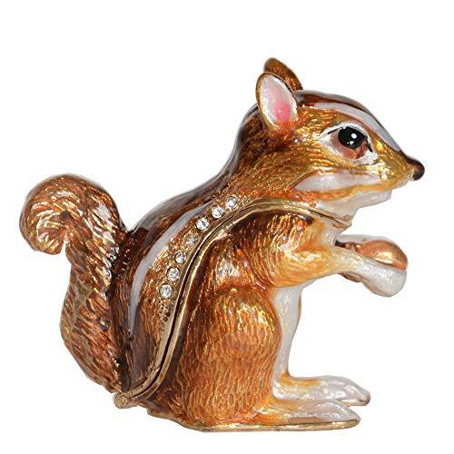 WOREX Estatuas Decoración Esculturas Joya Ardilla Esmaltada Caja Decoración Animal Regalos Creativos