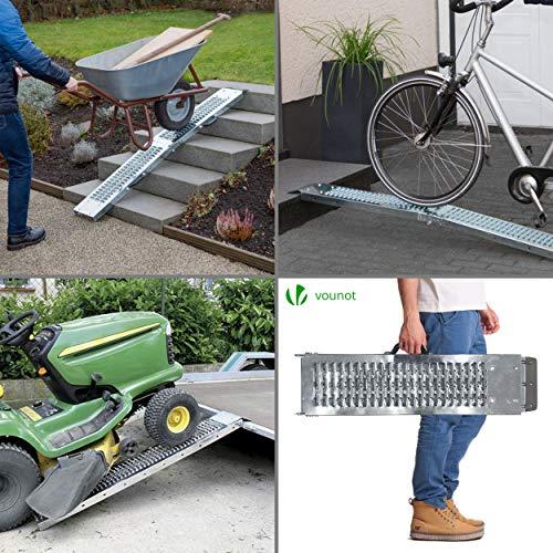 VOUNOT 2 x Rampe Pliable Rampe de Chargement 400kg Max Rampe Moto Tracteur Rampe Eclairage Remorque et Rampe d'acces Rsistant et Pratique Taille 160cm x 22.5x4.5cm Rampe Voiture