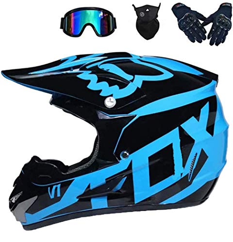 Betrothales motocross-helm und schutzbrille (5 stück) - schwarz und blau - erwachsener offroad-helm integral-mtb-helm motorrad-crosshelm für jugendliche männer frauen kinder (Color : A-Medium)