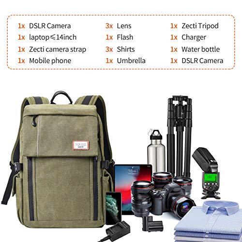 Kamerarucksack, Zecti Professional Shockproof Wasserdicht Kamera Rucksäcke aus Canvas Leinenstoff mit Regenschutz für Canon Nikon Sony Olympus Pentax Matsushita Samsung Ricoh Lycra Hasselblad