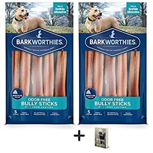 Barkworthies Odor Free Bully Sticks – 2 Pack (5 ct 6 inch) Premium Long Lasting, Protein-Packed, Grain Free Dog Treats and Dog Chews for Aggressive Chewers – Promotes Healthy Teeth for Dogs – E-Book