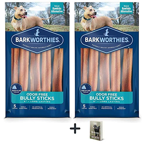 Barkworthies Odor Free Bully Sticks - 2 Pack (5 ct 6 inch) Premium Long Lasting, Protein-Packed, Grain Free Dog Treats and Dog Chews for Aggressive Chewers - Promotes Healthy Teeth for Dogs - E-Book