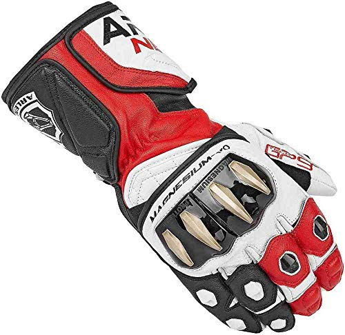 Arlen Ness Sugello Motorradhandschuhe mit langen Knöcheln, für Biker, Sport, Rennsport, Schwarz / Weiß / Rot, Größe L