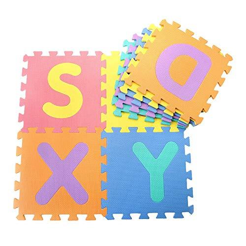 Goodbox Kinder Puzzlematte, Kinderspielteppich 10 pcs 30 x 30 cm Schaumstoffmatte Kinderteppich Buchstabenmatte