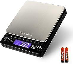 Kitchentour Báscula Digital para Cocina de 500g/0.01g, Balanza Multifuncional de Alta Presición de Alimentos, Joyería y Más con Plantalla LCD Retroilunminada (Baterías Incluidas)