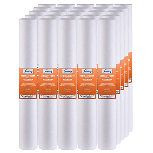 iSpring FP25X25 High Capacity 20 x 2.5 Water Replacement Cartridges Fine Sediment Filter, 5 Micron, 25 pieces, White, 25 Piece