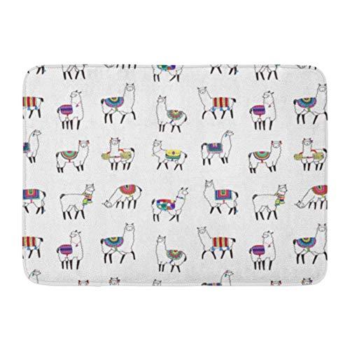 N/A Entry Carpet,Door Mat,Doormats,Bathroom Rug,Llama Lama Animal Pattern Doodle Child Peru Alpaca Abstract Welcome Doormat Floor Mat For Kitchen Bathroom Home Decor,60X40Cm