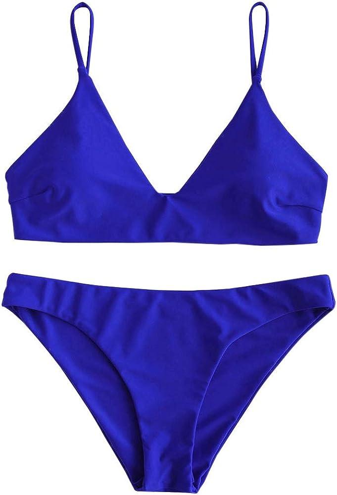 Zaful costume da bagno due pezzi per donna in nylon poliestere spandex materiale elasticizzato blu elettrico
