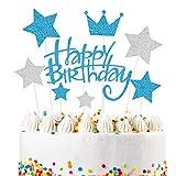 VAINCHEY Decorazioni per Torte di Compleanno Cake Topper Happy Birthday Decorazioni Torta Decoration Cupcake Toppers per Torte Glitterate per Party Bambini Baby Shower