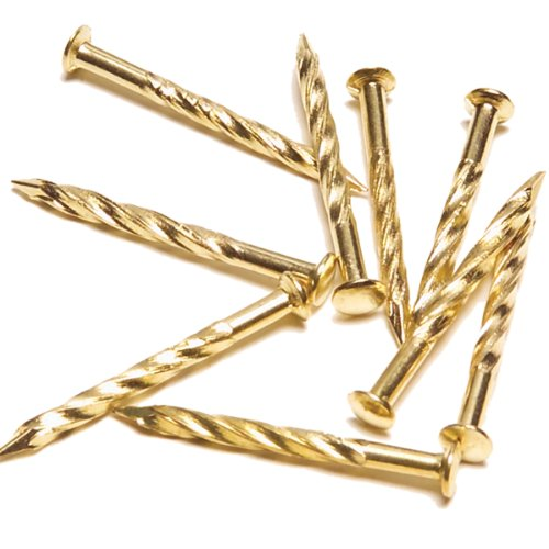 M-D Building Products 95653 1-1/4-Inch Screw Nails for Carpet Metal, Brass